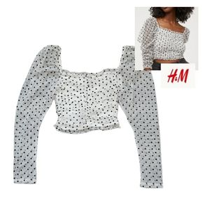 H&M Divided pocadot crop top, XS, Black and White